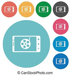 Mobile movie flat round icons