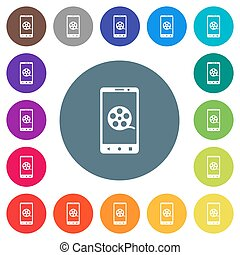 Mobile movie flat white icons on round color backgrounds