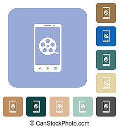 Mobile movie rounded square flat icons