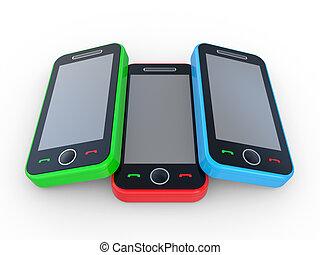 mobile, multi-coloré, 3d, téléphones