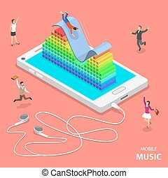 Mobile music flat isometric vector concept.