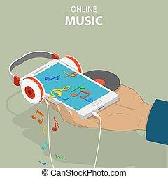 Mobile music isometric flat vector conceptual illustration.