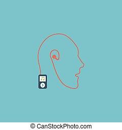 mobile, musica, collegamento, tecnologia, umano