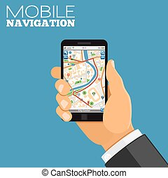 Mobile Navigation Concept - Mobile GPS Navigation Concept. ...