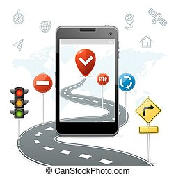 Mobile Navigation Concept with Traffic Road Signs. Vector