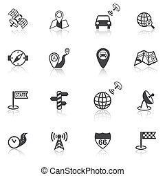 Mobile gps street navigation and travel black icons set isolated vector illustration