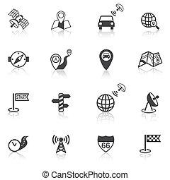 Mobile navigation icons black - Mobile gps street navigation...