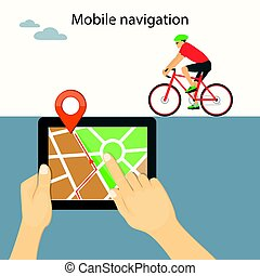 mobile navigation on tablet with bike