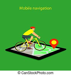 mobile navigation on tablet with map, pointer and bike