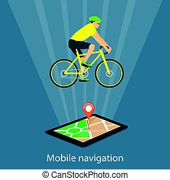 mobile navigation on tablet with map, pointer and riding biker