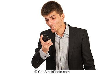 mobile, nervoso, uomo, telefono