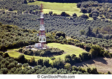 Mobile network's telecommunications tower - Aerial view of...