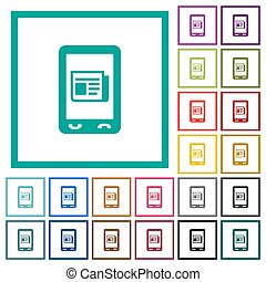Mobile news flat color icons with quadrant frames on white...