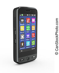 mobile, noir, téléphone., 3d