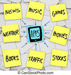 mobile, -, notes, apps, collant, téléphone, téléchargement, intelligent