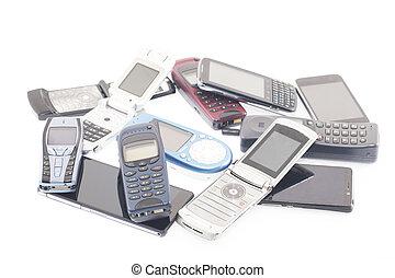 mobile, nouveau, vieux, smartpho, téléphones