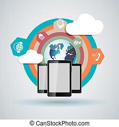 mobile, nuage, informatique, téléphone, tablette