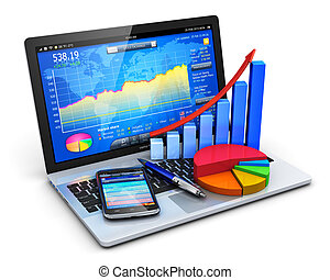 Mobile office, stock exchange market trading, statistics accounting, financial development and banking business concept: modern laptop or notebook computer PC with stock market application software, growth bar chart, pie diagram, ballpoint pen and touchscreen smartphone isolated on white background ...