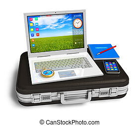 Mobile office - White laptop, smartphone and other business...