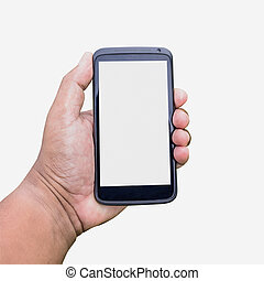 mobile on hand isolated on white with clipping path.