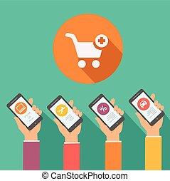 Mobile online shopping apps  in flat design, hands holding smartphones