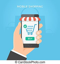 Mobile online shopping concept. Hand holding smartphone with shopping cart and button on the screen. Vector illustration.