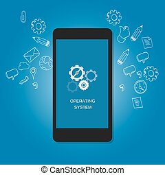 mobile operating system OS cell phone flat illustration