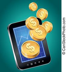 mobile, or, -, téléphone, pièces, vecteur, concept