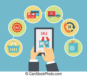 Mobile order and payment, Internet shopping concept in flat ...