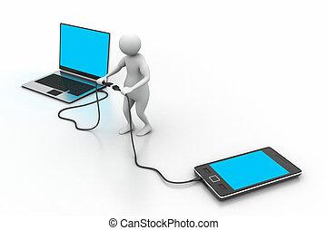 mobile, ordinateur portable, homme, connecter, 3d