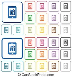 Mobile organizer outlined flat color icons
