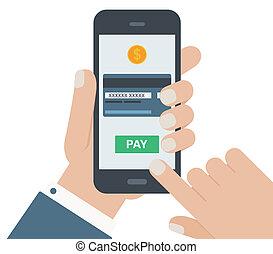 mobile, paiement, plat, conception, main, isolé, fond