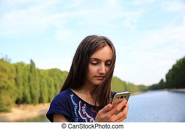 mobile, parc, téléphone, lit, message, girl