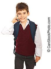 mobile, parlare, scolaro, telefono
