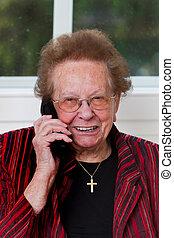 mobile, pattes, appel téléphonique, citoyen, personne agee