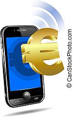mobile, payer, téléphone portable, intelligent, euro