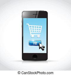 mobile, payer, ton, illustration, téléphone