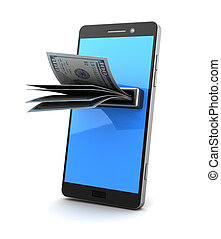 mobile payment - 3d illustration of smartphone with...