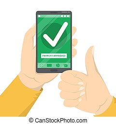 Mobile payment approved. Green checkmark on the smartphone