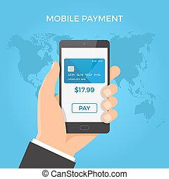 Mobile payment concept. Hand holding smartphone with credit card and button on the screen. Vector illustration.