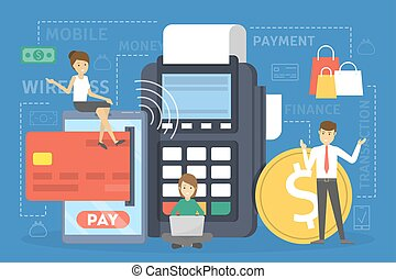 Mobile payment concept. Making money transaction on digital device