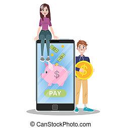 Mobile payment concept. Money transaction on digital device