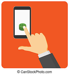 Mobile payment. Flat design style illustration.
