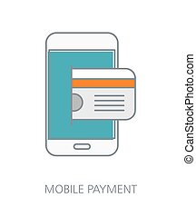 Mobile payment flat line icon concept