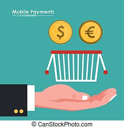 mobile payment hand hold basket and coins dollar euro