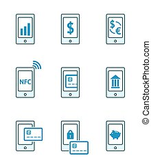 Mobile payment icons - Mobile payment vector icons set. NFC,...