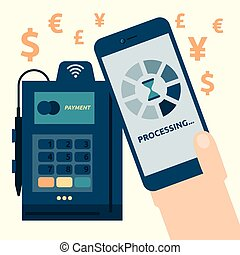 Mobile Payment - Illustration of mobile payment concept with...