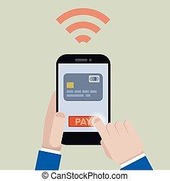 Mobile Payment - minimalistic illustration of mobile payment...