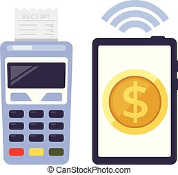 Mobile payment money online transfer internet modern technology concept. Vector design graphic isolated flat icon illustration
