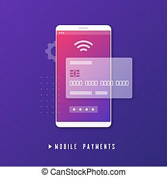 Mobile payment, online banking, money transfer concept.